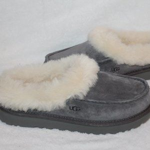 UGG GROVE SUEDE SHEARLING SLIPPERS GRAY 8 9 12 NEW